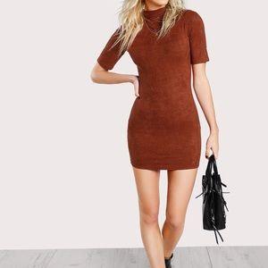 Shein Faux Suede Burnt Orange Dress